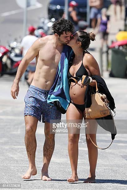Aidan Guerra and partner, Belinda Bartholomew enjoy Bondi Beach on March 7, 2016 in Sydney, Australia.