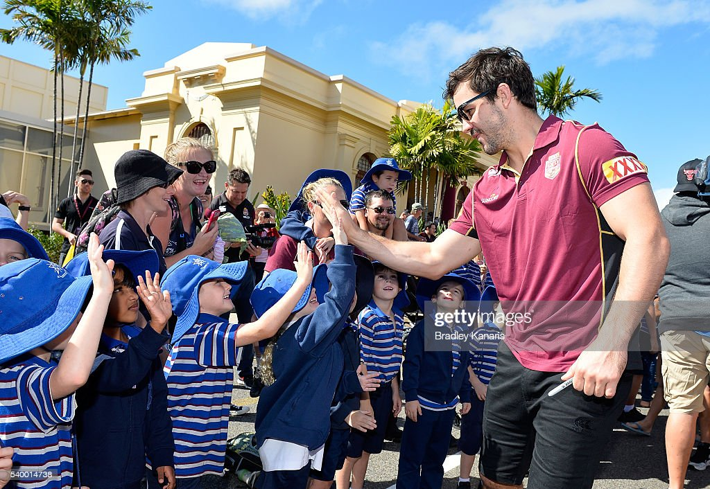 Aidan Guerra high fives the fans during a Queensland Maroons State of Origin Fan Day on June 14, 2016 in Gladstone, Australia.