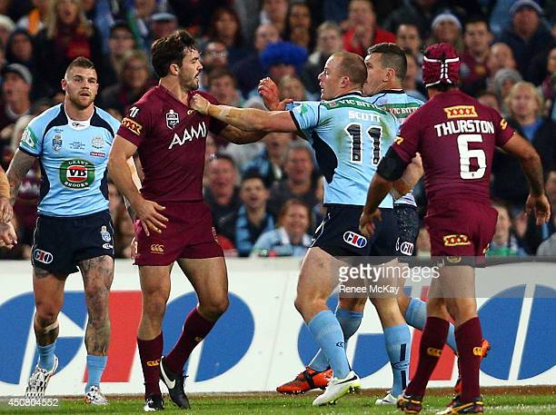 Aidan Guerra of the Maroons and Beau Scott of the Blues get into a fight during game two of the State of Origin series between the New South Wales...