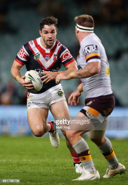 Aidan Guerra of the Roosters runs at the defence during the round 13 NRL match between the Sydney Roosters and the Brisbane Broncos at Allianz...