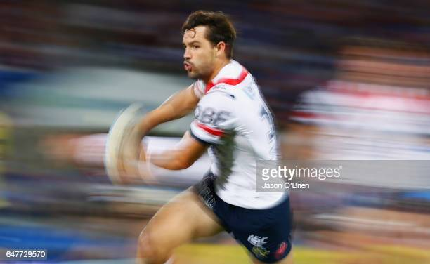 Aidan Guerra of the Roosters warms up during the round one NRL match between the Gold Coast Titans and the Sydney Roosters at Cbus Super Stadium on...