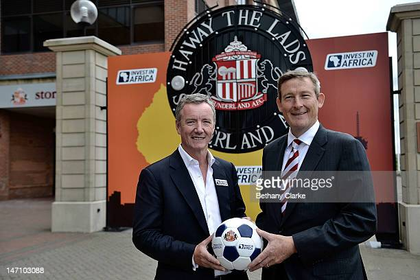 Aidan Heavey CEO Tullow Oil plc and Chairman of Sunderland AFC Ellis Short pose during the launch of a pioneering partnership between Invest in...