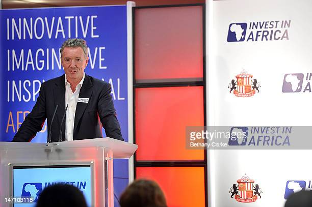 Aidan Heavey CEO Tullow Oil plc speaks during the launch of a pioneering partnership between Invest in Africa and Sunderland AFC at Stadium of Light...
