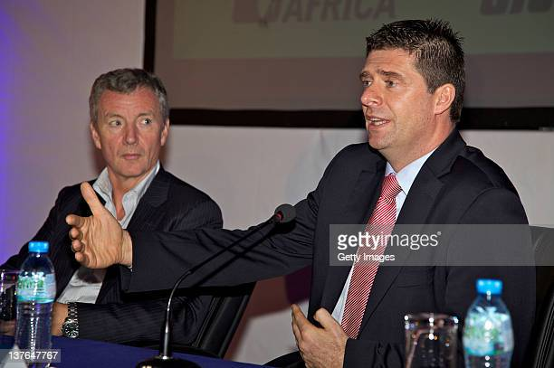 Aidan Heavey Chief Executive Tullow Oil plc and Niall Quinn Director of International Development Sunderland AFC attend the launch of 'Invest in...