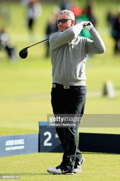Aidan Heavey tees off on the 2nd during the final round of the 2017 Alfred Dunhill Championship at The Old Course on October 8 2017 in St Andrews...