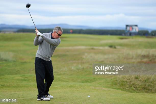 Aidan Heavey tees off on the 7th during the final round of the 2017 Alfred Dunhill Championship at The Old Course on October 8 2017 in St Andrews...