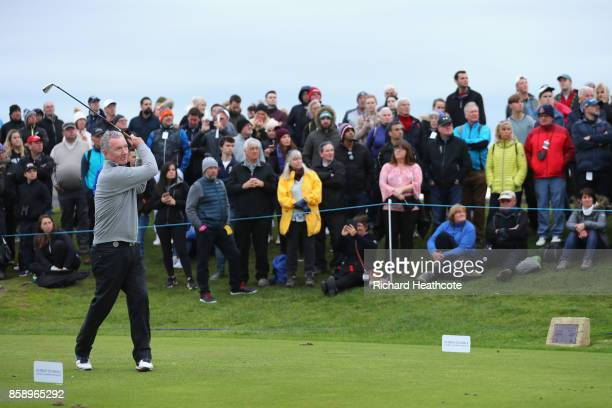 Aidan Heavey tees off on the 8th during the final round of the 2017 Alfred Dunhill Championship at The Old Course on October 8 2017 in St Andrews...