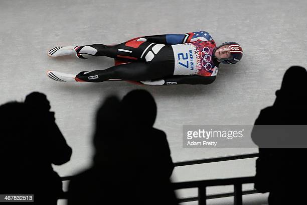 Aidan Kelly of the United States makes a run during the Luge Men's Singles on Day 1 of the Sochi 2014 Winter Olympics at the Sliding Center Sanki on...