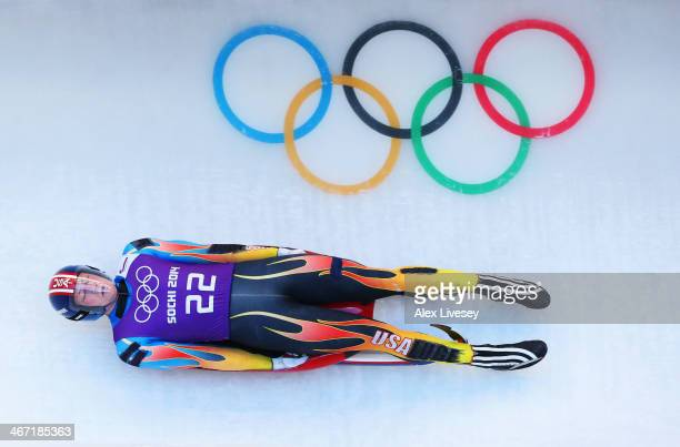 Aidan Kelly of the United States makes a run during the men's luge training session ahead of the Sochi 2014 Winter Olympics at the Sanki Sliding...