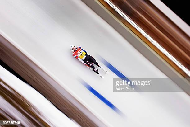 Aidan Kelly of the USA completes his first run in the Men's Luge during Day 2 of the Luge World Championships at Deutsche Post Eisarena Koenigssee on...