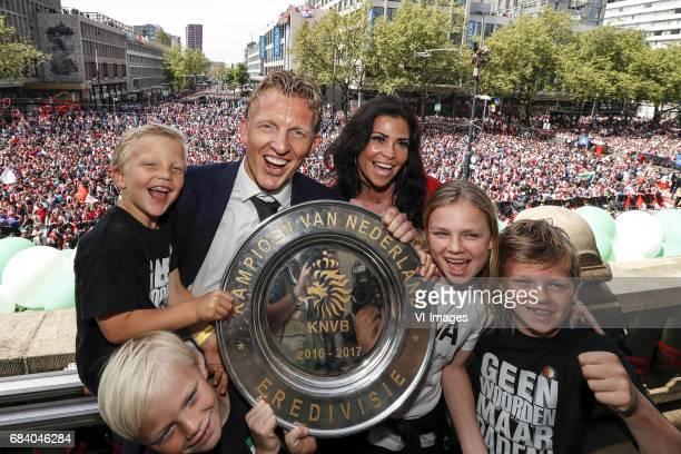 Aidan Kuyt Jorden Kuyt Dirk Kuyt of Feyenoord Gertrude Kuyt Noelle Kuyt Roan Kuyt and the tropheeduring Feyenoord Rotterdam honored Eredivisie...