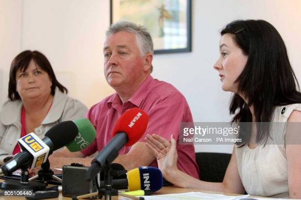 Aidan McAnespie's aunt Margaret Paul O'Connor of the Pat Finucane Centre and niece Una McCabe during a press conference following the announcement...