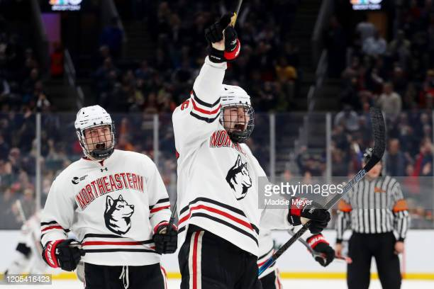 Aidan McDonough of the Northeastern Huskies celebrates after scoring a goal during the second period of the 2020 Beanpot Tournament Championship game...