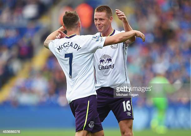 Aidan McGeady of Everton celebrates his goal with James McCarthy of Everton during the Barclays Premier League match between Leicester City and...