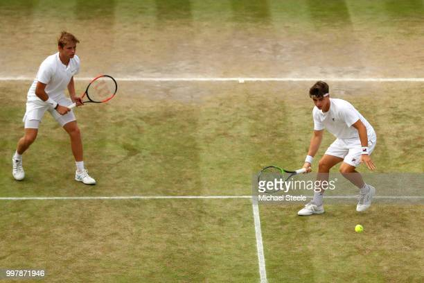 Aidan McHugh of Great Britain and Timofei Skatov of Kazakhstan return against James Story and Harry Wendelken and Great Britain on day eleven of the...