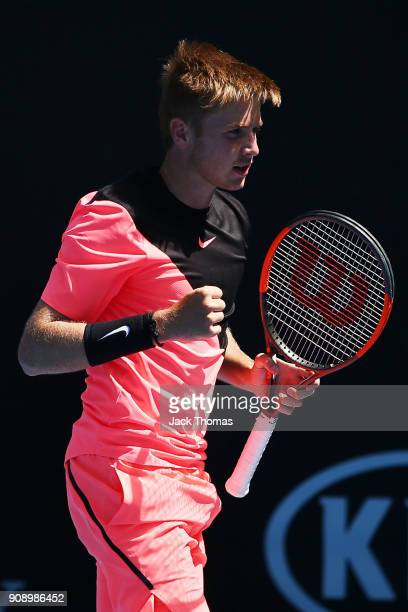 Aidan McHugh of Great Britain celebrates winning a point against Jamiee Floyd Angele of France during the Australian Open 2018 Junior Championships...