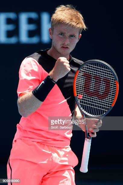Aidan McHugh of Great Britain celebrates winning a point in his third round match against Ondrej Styler of the Czech Republic during the Australian...