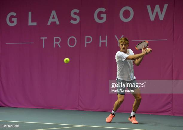 Aidan McHugh of Great Britain in action during a practice session ahead of his match later this week on the third day of The Glasgow Trophy at...