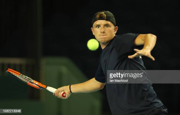 Aidan McHugh of Great Britain is seen during a practice session prior to the Davis Cup match between Great Britain and Uzbekistan at Emirates Arena...