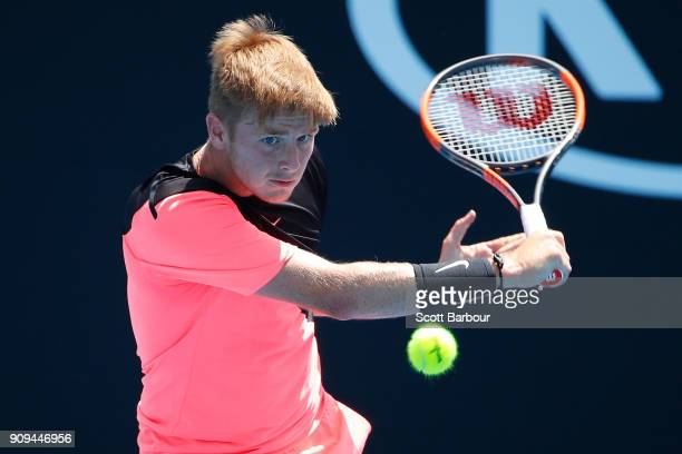 Aidan McHugh of Great Britain plays a backhand in his third round match against Ondrej Styler of the Czech Republic during the Australian Open 2018...