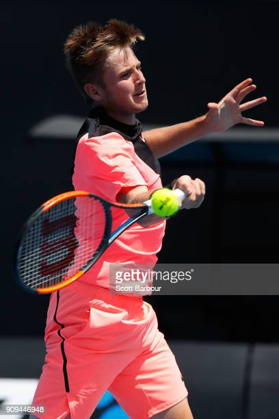 Aidan McHugh of Great Britain plays a forehand in his third round match against Ondrej Styler of the Czech Republic during the Australian Open 2018...