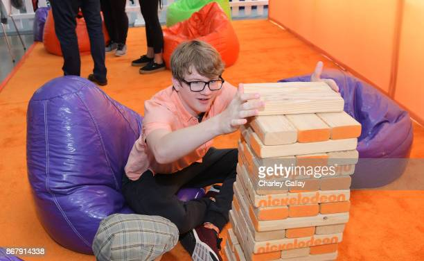 Aidan Miner plays Jenga at The Elizabeth Glaser Pediatric AIDS Foundation's 28th annual 'A Time For Heroes' family festival at Smashbox Studios on...