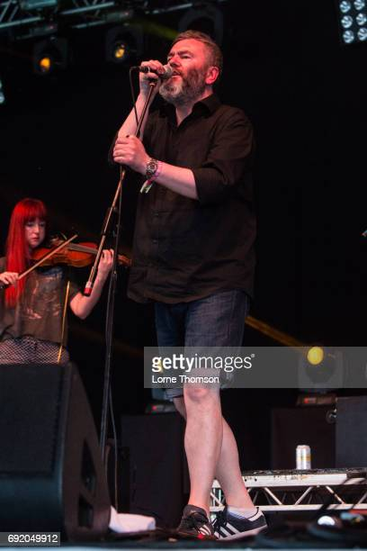Aidan Moffat of Arab Strap performs at The Crack Stage on Day 1 of Field Day Festival at Victoria Park on June 3 2017 in London England