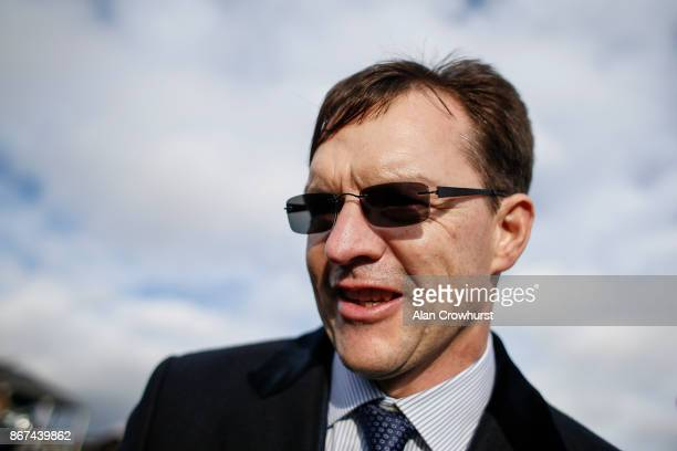 Aidan O'Brien celebrates as Saxon Warrior wins to give him a record twenty six Group 1 winners in a year at Doncaster racecourse on October 28, 2017...