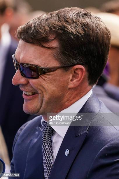 Aidan OBrien poses at Newmarket Racecourse on July 14 2018 in Newmarket United Kingdom