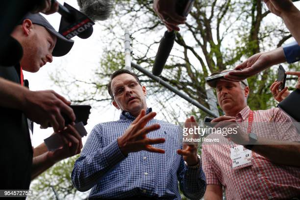 Aidan O'Brien trainer of Mendelssohn talks to the media after morning workouts in preparation for the Kentucky Derby at Churchill Downs on May 4 2018...