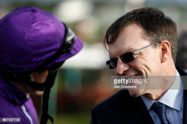 Aidan OâBrien with Ryan Moore at Doncaster racecourse on October 28 2017 in Doncaster United Kingdom