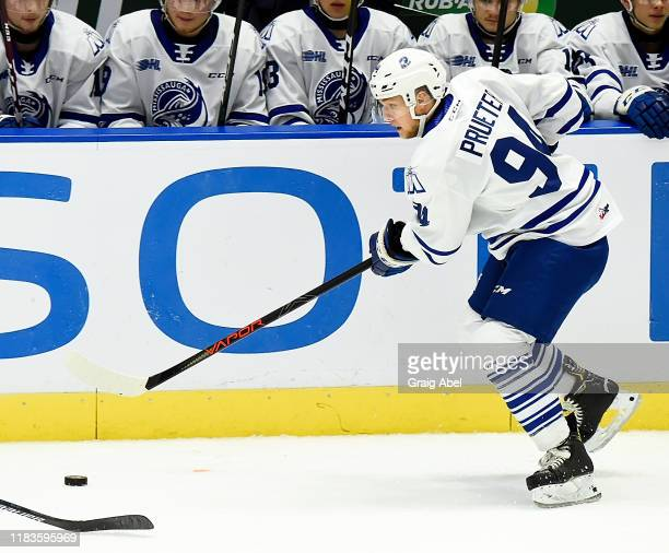 Aidan Prueter of the Mississauga Steelheads skates against the Oshawa Generals during game action on October 25, 2019 at Paramount Fine Foods Centre...