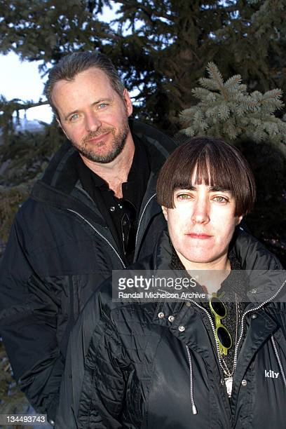 Aidan Quinn and director Aisling Walsh during 2003 Sundance Film Festival 'Song For A Raggy Boy' Outdoor Portraits at Main Street Park City in Park...