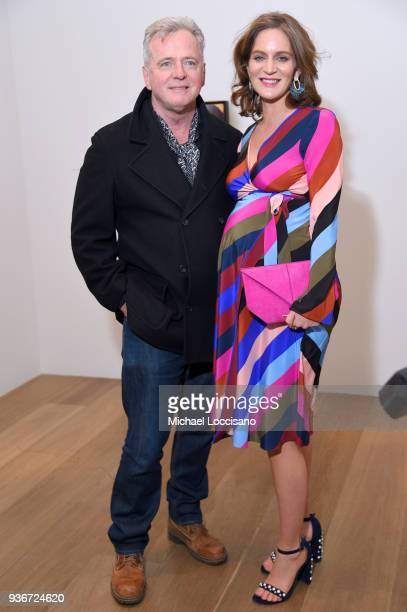 """Aidan Quinn and Felicity Blunt attend the """"Final Portrait"""" New York Screening After Party at Levy Gorvy Gallery on March 22, 2018 in New York City."""