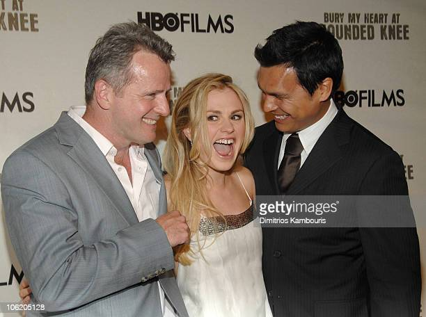 Aidan Quinn Anna Paquin and Adam Beach during HBO Films' 'Bury My Heart at Wounded Knee' Arrivals at American Museum of Natural History in New York...