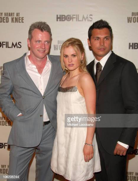 Aidan Quinn Anna Paquin and Adam Beach during The World Premiere of HBO Film's 'Bury My Heart at Wounded Knee' Arrivals at American Museum of Natural...
