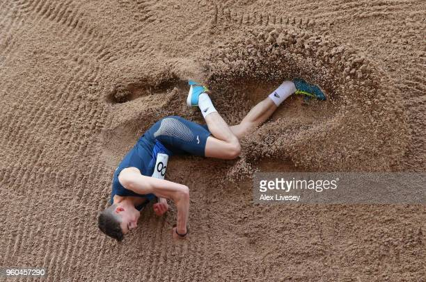 Aidan Quinn of Scotland U20's lands in the sand pit during the Men's Triple Jump event at the Loughborough International Athletics event on May 20...