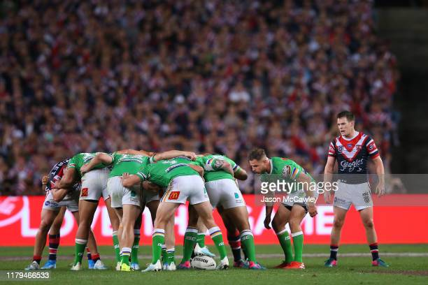 Aidan Sezer of the Raiders feeds a scrum during the 2019 NRL Grand Final match between the Canberra Raiders and the Sydney Roosters at ANZ Stadium on...