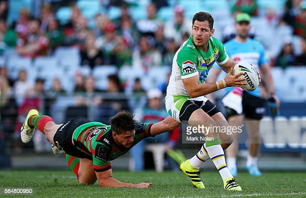 Aidan Sezer of the Raiders looks for support during the round 21 NRL match between the South Sydney Rabbitohs and the Canberra Raiders at ANZ Stadium...