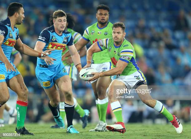 Aidan Sezer of the Raiders looks to pass during the round one NRL match between the Gold Coast Titans and the Canberra Raiders at Cbus Super Stadium...