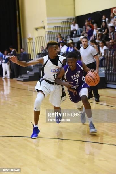 Aidan Shaw of team Central defends against Team NorthWest during the Jr NBA World Championships Tournament in Orlando Florida at ESPN Wide World of...