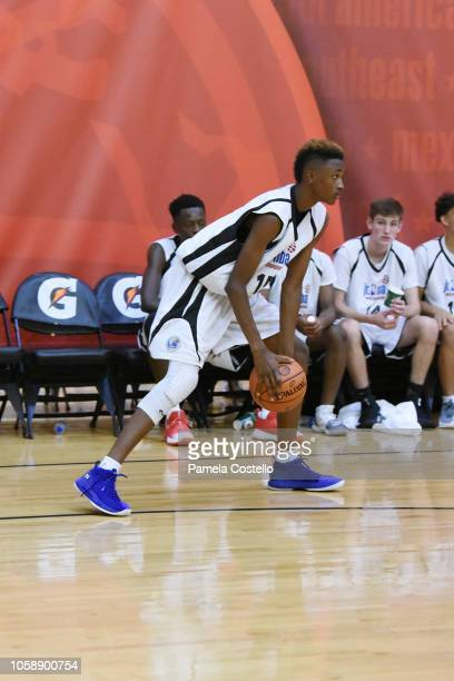 Aidan Shaw of team Central handles the ball against Team NorthWest during the Jr NBA World Championships Tournament in Orlando Florida at ESPN Wide...