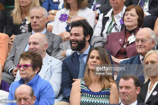 Aidan Turner and Richard Cook attend day twelve of the Wimbledon Tennis Championships at the All England Lawn Tennis and Croquet Club on on July 15...