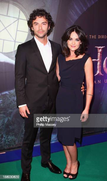 Aidan Turner and Sarah Greene attend the Irish Premiere of 'The Hobbit An Unexpected Journey' at Cineworld on December 9 2012 in Dublin Ireland