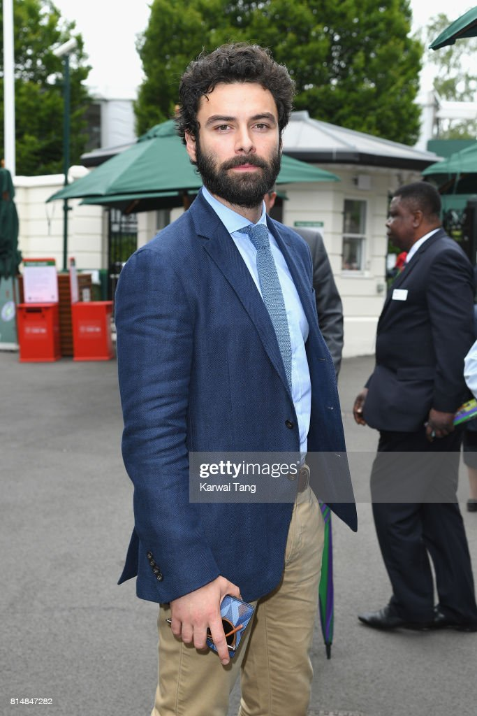 Aidan Turner attends day twelve of the Wimbledon Tennis Championships at the All England Lawn Tennis and Croquet Club on on July 15, 2017 in London, United Kingdom.