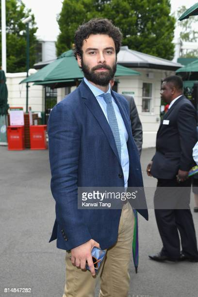Aidan Turner attends day twelve of the Wimbledon Tennis Championships at the All England Lawn Tennis and Croquet Club on on July 15 2017 in London...