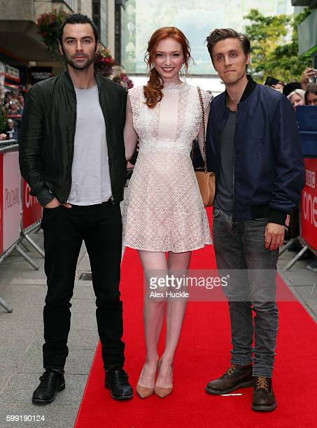 Aidan Turner Eleanor Tomlinson and Jack Farthing attend a preview screening for series two of BBC drama 'Poldark' at the White River Cinema on...