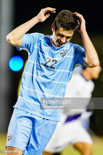 Aidan Welsh of Tufts Jumbos after his shot during the Division III Men's Soccer Championship held at UNCG Soccer Stadium on December 7, 2019 in...