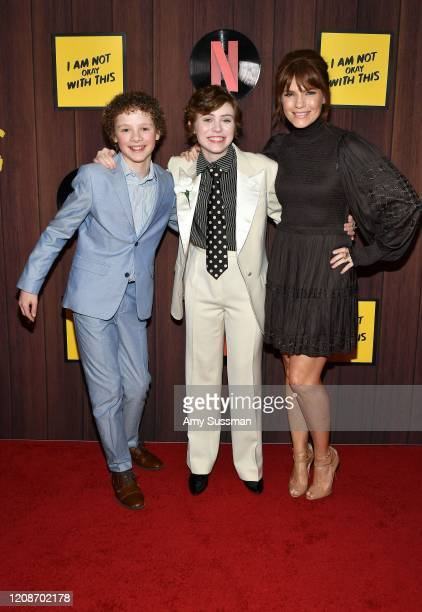 Aidan WojtakHissong Sophia Lillis and Kathleen Rose Perkins attend Netflix's I Am Not Okay With This Photocall at The London West Hollywood on...