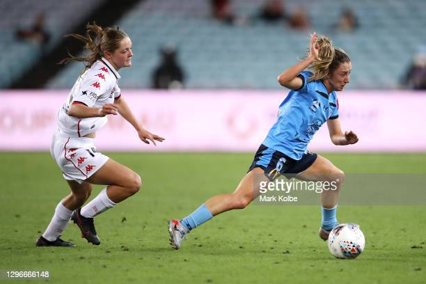 Aideen Keane of the Wanderers tackles Clare Wheeler of Sydney FC during the round four W-League match between Sydney FC and the Western Sydney...